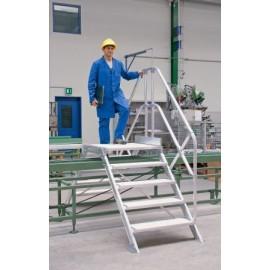 Passerelle inclinée à 45° largeur utile 600 mm avec 2 escaliers