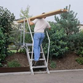 Passerelle inclinée à 60° largeur utile 600 mm avec 2 escaliers